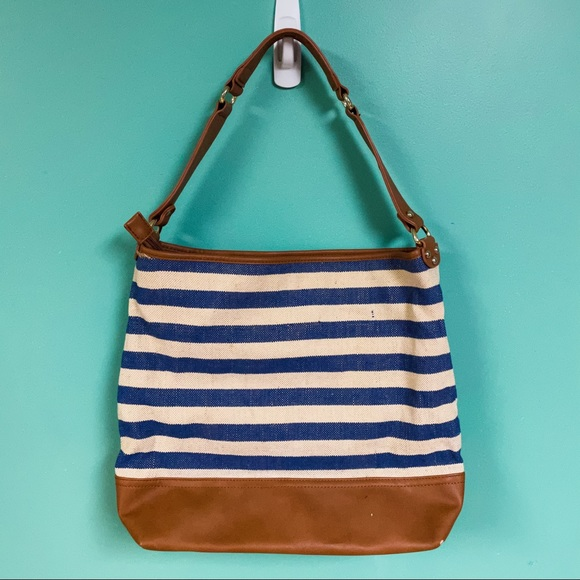Charming Charlie Navy & White Striped Shoulder Bag